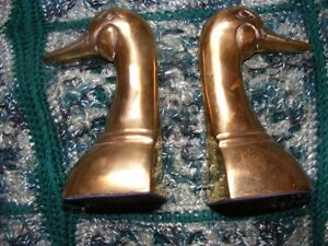 SET OF BRASS DUCK BOOKENDS - 6 1/4 INCHES HIGH