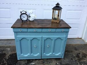 Chalk Painted and Stained Cabinet