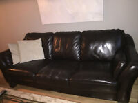 Chocolate Brown Leather Couch + Love Seat