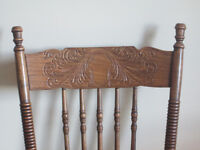 Antique Oak Press Back Chairs