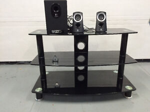 Beautiful Shiny Black Glass  3 tier TV table