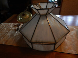 2 Matching White Stained Glass Kitchen Lights