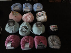 Lot of 14 rolls of italian wool yarn knitting supplies assorted London Ontario image 1