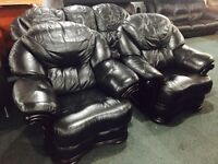 As new full black leather 3 11 sofa set