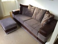 3 seater modern sofa with matching footstool