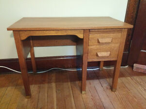 "Oak desk childrens size 36x19x26-1/4"" height, dovetail drawers"
