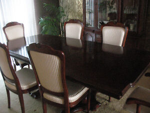 Cherry Wood Dining Table, Chairs and Hutch