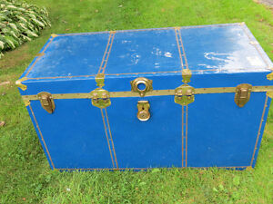 Storage trunk with brass trim