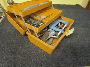 Plastic fishing tackle box with tools