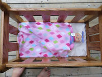 Oak Doll bed with bedding and doll