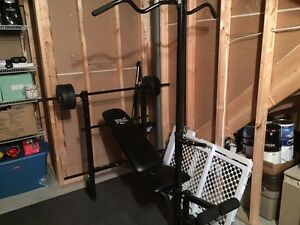 Everlast Weight Bench with bar and weights London Ontario image 1