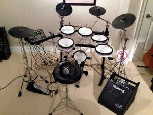 Great Roland TD-8 All Mesh Electronic Drums- many extras