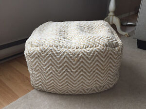 Beige/cream patterned pouffe