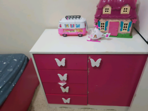 Pink Single bed frame with Matching Tables