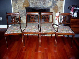 Duncan Phyfe Style Mahogany Lyre Back Chairs