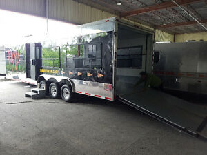 30' Enclosed Race Car Trailer with living space A/C Bed Shower.