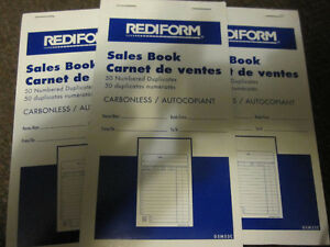 10 Rediform Sales Books Carbonless 3-5/8 inch x 6-3/8 inch, 50c