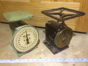 Antique spring scales, platform scale, baby scale, kitchen scale