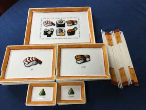 sushi plate set with chop sticks