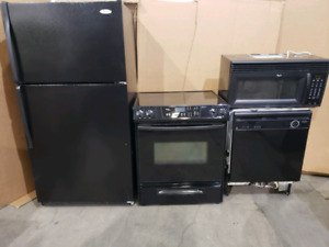 Used black 4 PC kitchen package