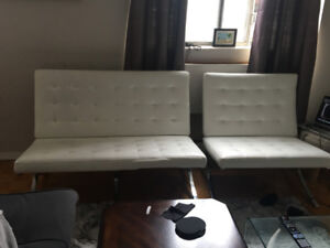 White Chaise and Love Seat Set for sale!