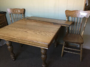 Quebec antique table and 6 chairs