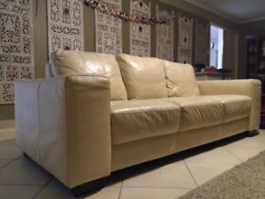 Leather 3 seater sofa cream