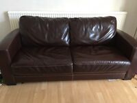 Leather metal action sofa bed