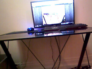 Black Glass Top Metal Desk with free Student chair!
