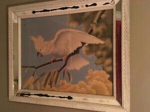 Two Vintage Turner 50's bird cockatiel framed print painting $40