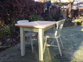 Lovely small Pine Table plus 2 matching Chairs