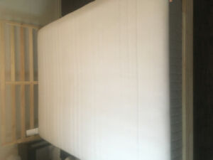 Barely used EUC queen mattress and frame from Ikea