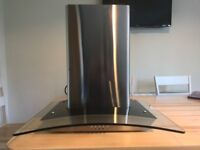 Stainless Steel and curved glass cooker hood
