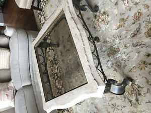 Marble with wrought iron glass top coffee table