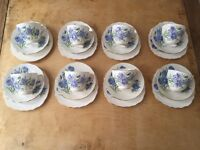 Vale pottery - blue and white floral tea set