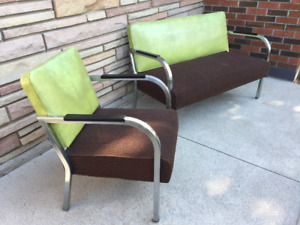 Mid Century Modern Loveseat and Chair