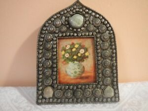 Antique metal handmade carved frame with stones