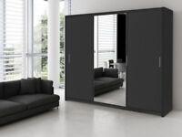 HUGE 250 CM WIDTH- BLACK/WALNUT/WENGE/WHITE 3 DOOR SLIDING WARDROBE WITH MIDDLE DOOR FULL MIRROR