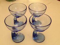 Set of 4 Bormioli Rocco Cobalt Blue Wave Glass Stemmed Dessert Goblets. Made in Italy.
