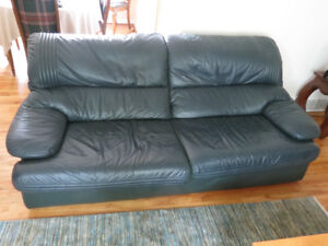 Green leather 3-seat sofa