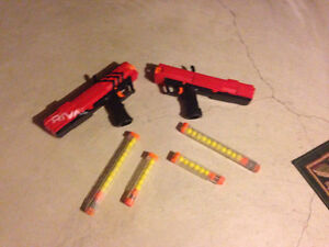 2 Nerf rival guns with 2 extra magazine clips