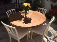Shabby chic solid pine round table and 4 chairs refurbished