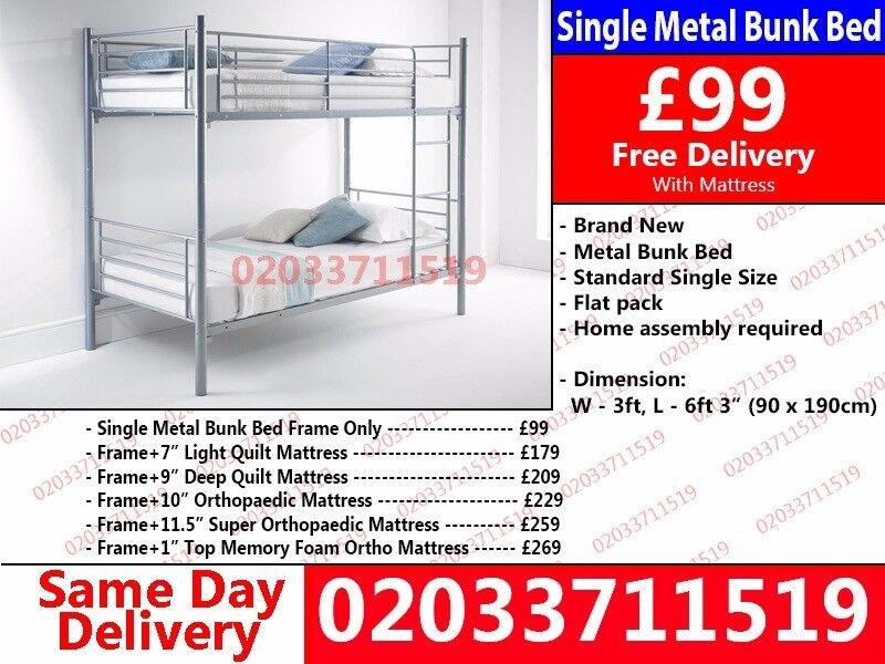 Best Quality Single Metal Bunk Bed Frame And Mattress San Antonio