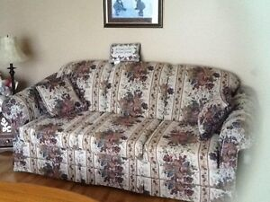 Sofa, wing back chair, 2 end talbes, sofa table, coffee table