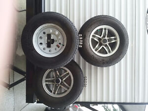"""13 """" trailer tires, wheels and center caps"""