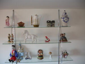 Glass Chrome Shelving and all Figurines and all Knick Knacks