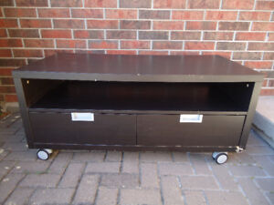 BLACK TV STAND WITH 2 DRAWERS