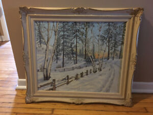 Two Beautifully Framed Original Winter Scene Paintings
