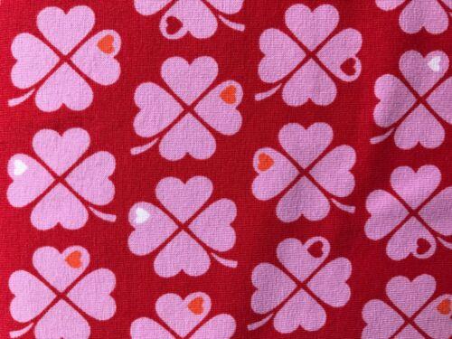 25 cm Jersey Kinderstoff Graziela Klee Rosa Auf Rot
