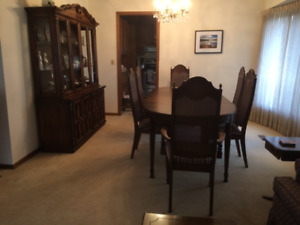 Solid wood Dining Table, Hutch and Six Chairs